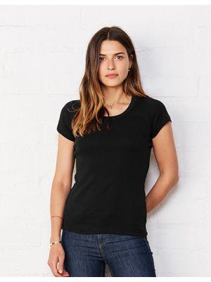 Sheer Rib Scoop Neck T-Shirt