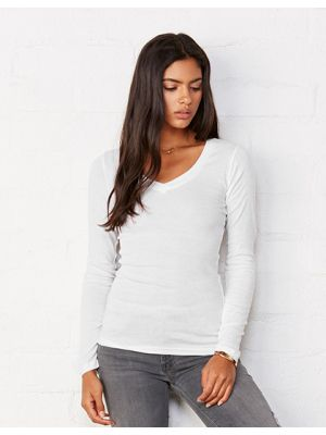Sheer Rib Long Sleeve V-Neck T-Shirt