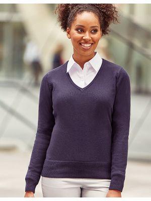 Damen Strick Pullover mit V-Ausschnitt