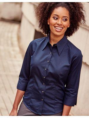 Körperbetonte Bluse aus Tencel® mit 3/4-Ärmeln